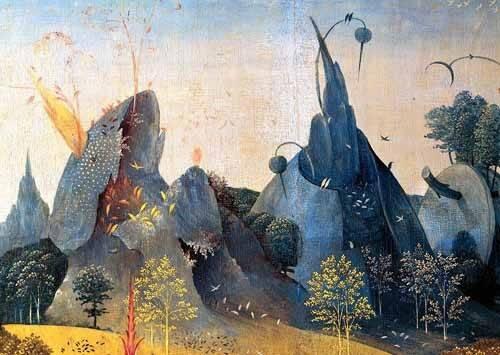 quadros-de-paisagens - Quadro -Triptico: Jardin de las delicias, -Paisaje azul-- - Bosco, El (Hieronymus Bosch)