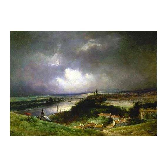 pinturas de paisagens - Quadro -Paisaje con el río-