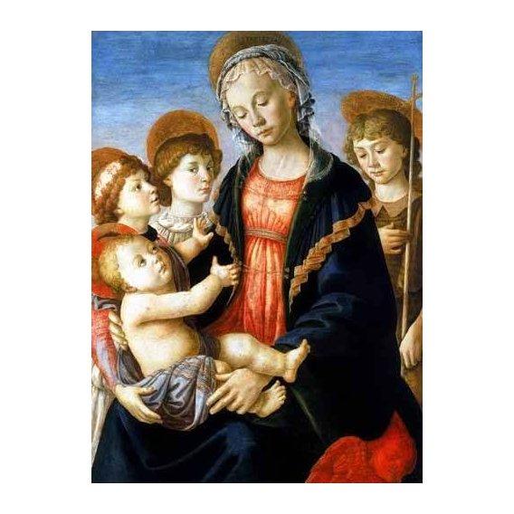 cuadros religiosos - Cuadro -La virgen y el Niño con San Juan Bautista y dos angeles-