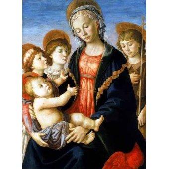 quadros religiosos - Quadro -La virgen y el Niño con San Juan Bautista y dos angeles- - Botticelli, Alessandro