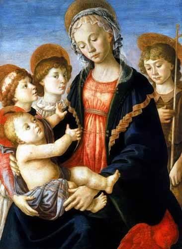 cuadros religiosos - Cuadro -La virgen y el Niño con San Juan Bautista y dos angeles- - Botticelli, Alessandro