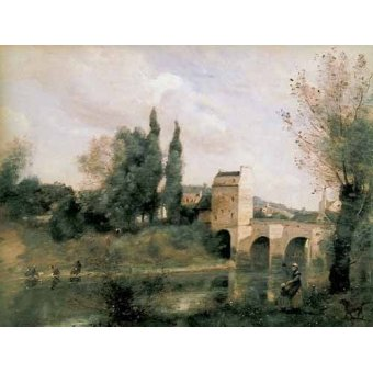 - Quadro -El puente de Mantes- - Corot, J. B. Camille