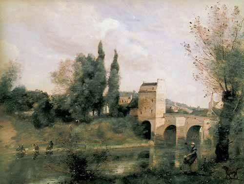 quadros-de-paisagens - Quadro -El puente de Mantes- - Corot, J. B. Camille