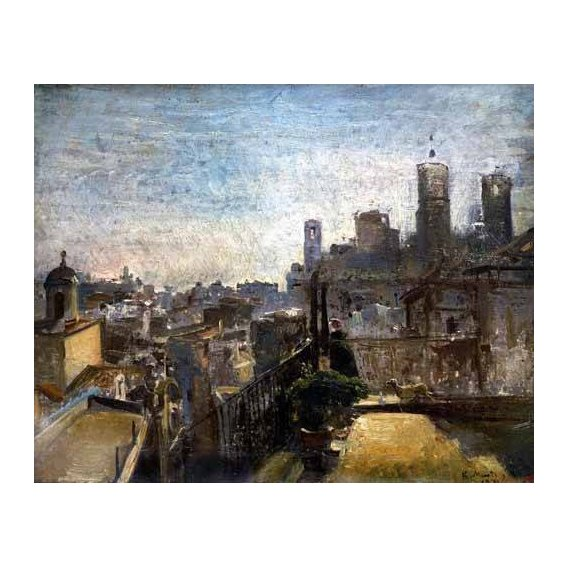 pinturas de paisagens - Quadro -Un rincón del jardín de Rueil-