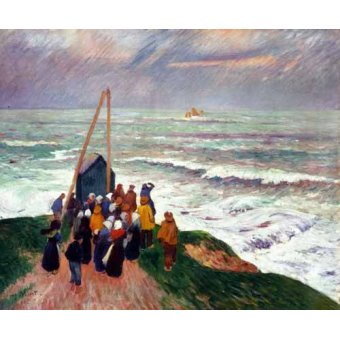 quadros de paisagens marinhas - Quadro -Esperando a los pescadores en Bretaña- - Moret, Henri