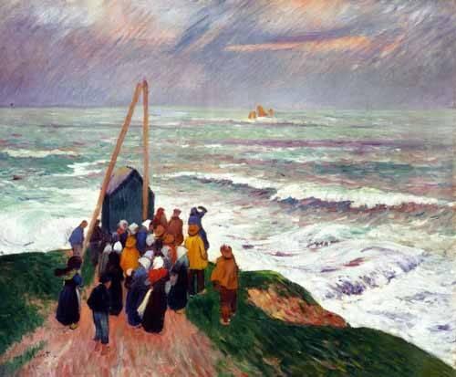 quadros-de-paisagens-marinhas - Quadro -Esperando a los pescadores en Bretaña- - Moret, Henri