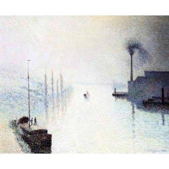 quadros de paisagens marinhas - Quadro -La isla Lacroix Rouen efecto de niebla- - Pissarro, Camille