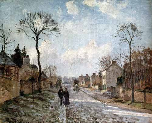 quadros-de-paisagens - Quadro -Paisaje de invierno en Louveciennes- - Pissarro, Camille
