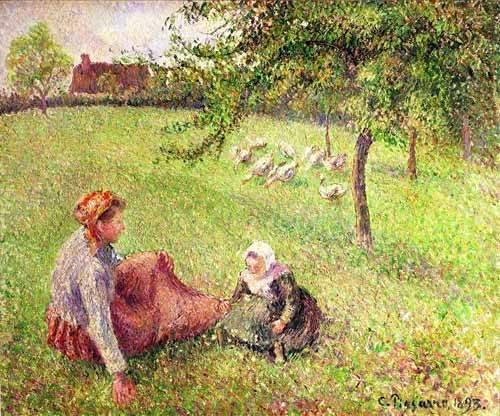 quadros-de-paisagens - Quadro -La pastora de gansos- - Pissarro, Camille
