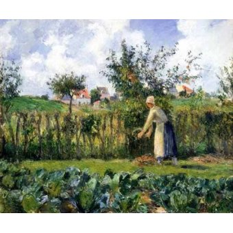 - Quadro -The cutting of the hedge- - Pissarro, Camille