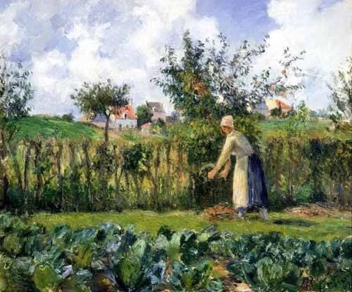 quadros-de-paisagens - Quadro -The cutting of the hedge- - Pissarro, Camille