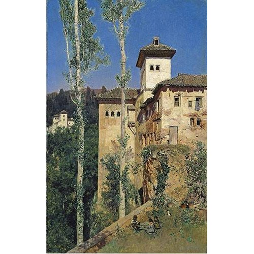pinturas de paisagens - Quadro -La Torre de las Damas en la Alhambra-
