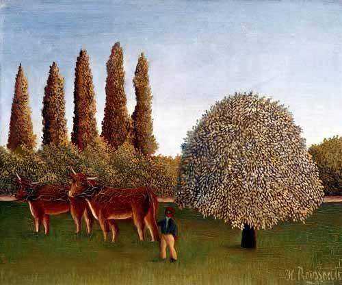 quadros-de-paisagens - Quadro -Paisaje con vacas- - Rousseau, Henri