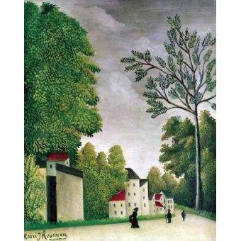 - Quadro -Escena en una calle de pueblo- - Rousseau, Henri