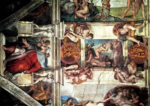 religious paintings - Picture -Bóveda: Creación de Eva, le Profeta Ezequiel- - Buonarroti, Miguel Angel