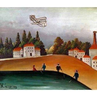 - Quadro -Los pescadores de caña y el avión- - Rousseau, Henri