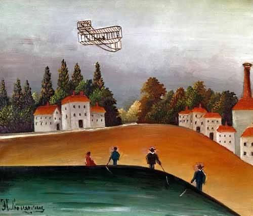 quadros-de-paisagens - Quadro -Los pescadores de caña y el avión- - Rousseau, Henri
