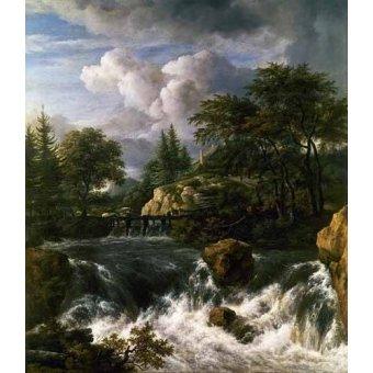 - Quadro -Paisaje con una cascada- - Ruisdael, Jacob van