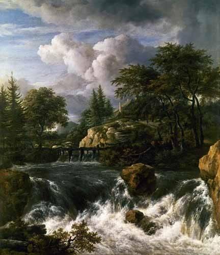 quadros-de-paisagens - Quadro -Paisaje con una cascada- - Ruisdael, Jacob van