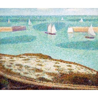 quadros de paisagens marinhas - Quadro -Entrada al puerto- - Seurat, Georges