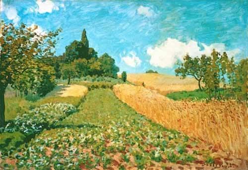 quadros-de-paisagens - Quadro -Campo de trigo- - Sisley, Alfred
