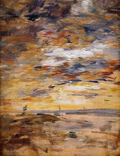 abstracts paintings - Picture -Sky at sunset- - Boudin, Eugene