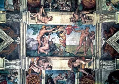 religious paintings - Picture -Bóveda: Pecado original- - Buonarroti, Miguel Angel