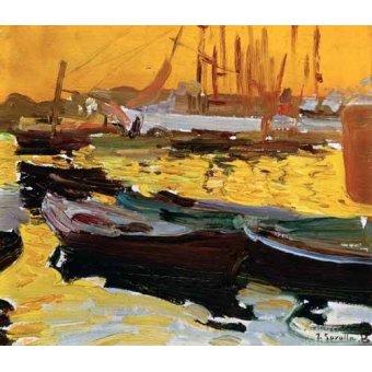 quadros de paisagens marinhas - Quadro -Puerto de Valencia- - Sorolla, Joaquin