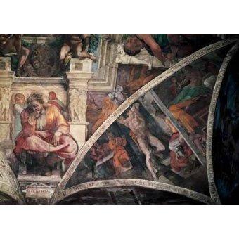 - Quadro -Bóveda: El Castigo de Amán, el Profeta Jeremias- - Buonarroti, Miguel Angel
