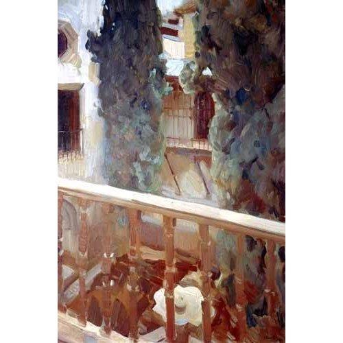 pinturas de paisagens - Quadro -La Alhambra de Granada, balcón-