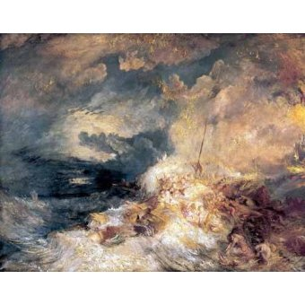 quadros de paisagens marinhas - Quadro -Incendio en el mar- - Turner, Joseph M. William
