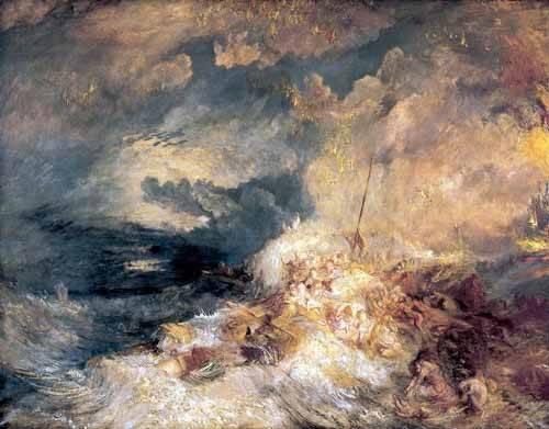 quadros-de-paisagens-marinhas - Quadro -Incendio en el mar- - Turner, Joseph M. William