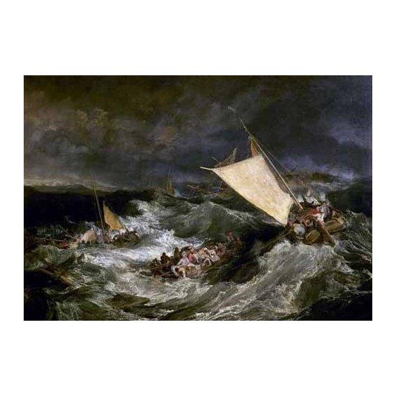pinturas de paisagens marinhas - Quadro -Naufragio de barco de transporte-