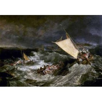 quadros de paisagens marinhas - Quadro -Naufragio de barco de transporte- - Turner, Joseph M. William