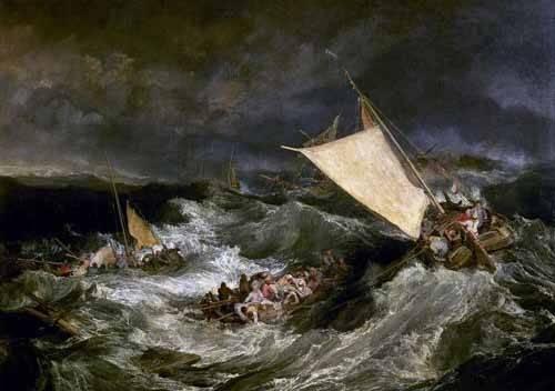 quadros-de-paisagens-marinhas - Quadro -Naufragio de barco de transporte- - Turner, Joseph M. William