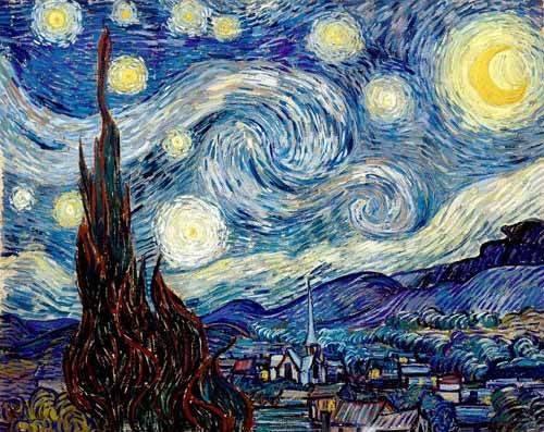 quadros-de-paisagens - Quadro - A noite estrelada - - Van Gogh, Vincent