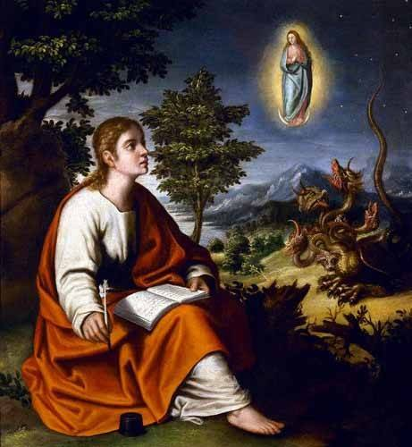 religious paintings - Picture -Visión de San Juan Evangelista- - Cotan, Juan Sanchez