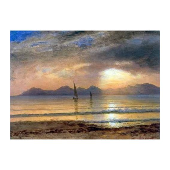 pinturas de paisagens - Quadro -Sunset Over A Mountain Lake-