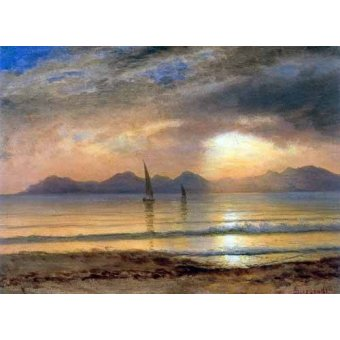 - Quadro -Sunset Over A Mountain Lake- - Bierstadt, Albert