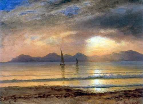 quadros-de-paisagens - Quadro -Sunset Over A Mountain Lake- - Bierstadt, Albert