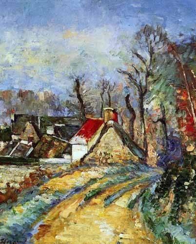 quadros-de-paisagens - Quadro -Curva en el camino de Auvers- - Cezanne, Paul
