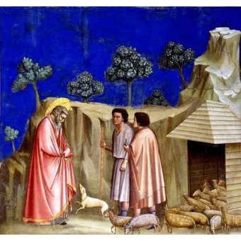 quadros religiosos - Quadro -Joachim retires to the sheepfold- - Giotto, Bondone di