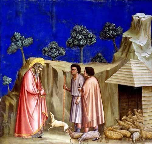 cuadros religiosos - Cuadro -Joachim retires to the sheepfold- - Giotto, Bondone di