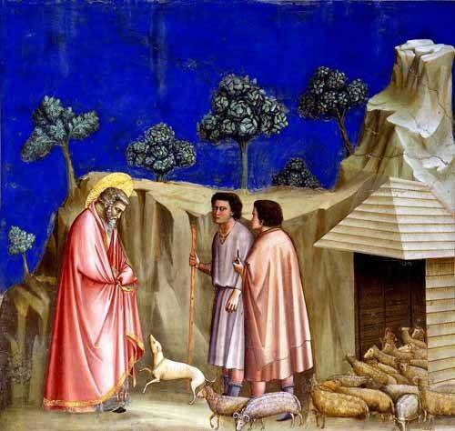 quadros-religiosos - Quadro -Joachim retires to the sheepfold- - Giotto, Bondone di