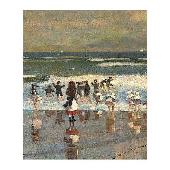 pinturas de paisagens marinhas - Quadro -Escena de playa con niños jugando en las olas-