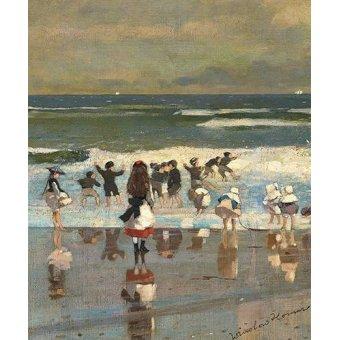 quadros de paisagens marinhas - Quadro -Escena de playa con niños jugando en las olas- - Homer, Winslow