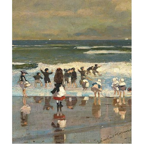Quadro -Escena de playa con niños jugando en las olas-