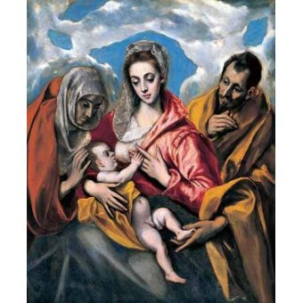 quadros religiosos - Quadro -La Sagrada Familia con Santa Ana (1595)- - Greco, El (D. Theotocopoulos)