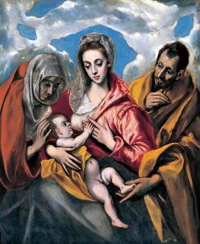 religious paintings - Picture -La Sagrada Familia con Santa Ana (1595)- - Greco, El (D. Theotocopoulos)