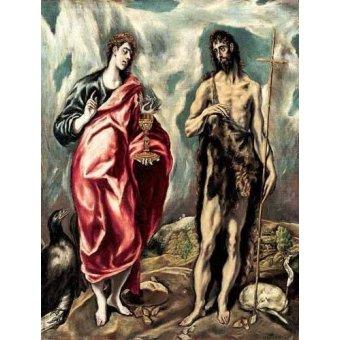 quadros religiosos - Quadro -Los Santos Juanes (1605-10)- - Greco, El (D. Theotocopoulos)